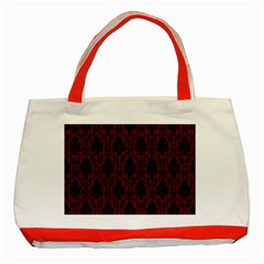 Elegant Black And Red Damask Antique Vintage Victorian Lace Style Classic Tote Bag (Red)