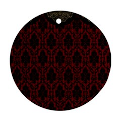 Elegant Black And Red Damask Antique Vintage Victorian Lace Style Round Ornament (Two Sides)