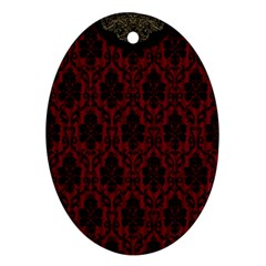 Elegant Black And Red Damask Antique Vintage Victorian Lace Style Oval Ornament (Two Sides)