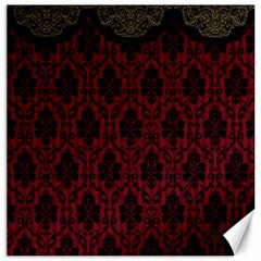 Elegant Black And Red Damask Antique Vintage Victorian Lace Style Canvas 12  x 12