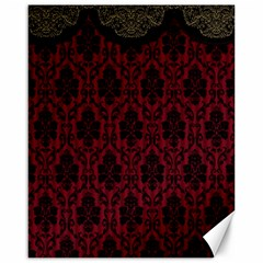 Elegant Black And Red Damask Antique Vintage Victorian Lace Style Canvas 16  x 20