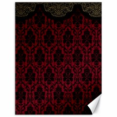Elegant Black And Red Damask Antique Vintage Victorian Lace Style Canvas 18  x 24