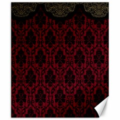 Elegant Black And Red Damask Antique Vintage Victorian Lace Style Canvas 20  x 24
