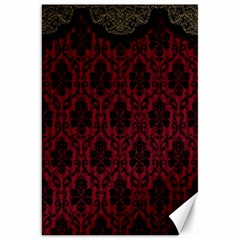 Elegant Black And Red Damask Antique Vintage Victorian Lace Style Canvas 20  x 30