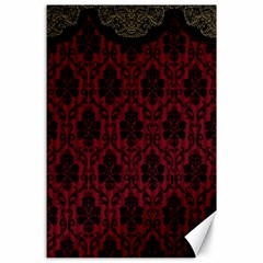 Elegant Black And Red Damask Antique Vintage Victorian Lace Style Canvas 24  x 36