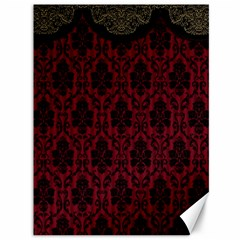 Elegant Black And Red Damask Antique Vintage Victorian Lace Style Canvas 36  x 48