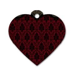 Elegant Black And Red Damask Antique Vintage Victorian Lace Style Dog Tag Heart (Two Sides)