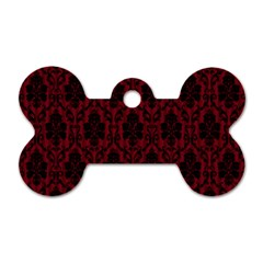 Elegant Black And Red Damask Antique Vintage Victorian Lace Style Dog Tag Bone (One Side)
