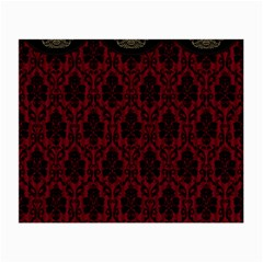 Elegant Black And Red Damask Antique Vintage Victorian Lace Style Small Glasses Cloth (2-Side)