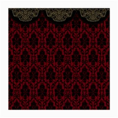 Elegant Black And Red Damask Antique Vintage Victorian Lace Style Medium Glasses Cloth