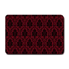 Elegant Black And Red Damask Antique Vintage Victorian Lace Style Small Doormat