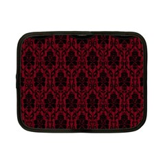 Elegant Black And Red Damask Antique Vintage Victorian Lace Style Netbook Case (Small)