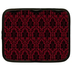 Elegant Black And Red Damask Antique Vintage Victorian Lace Style Netbook Case (Large)