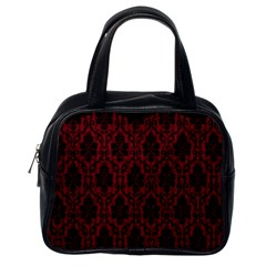 Elegant Black And Red Damask Antique Vintage Victorian Lace Style Classic Handbags (One Side)