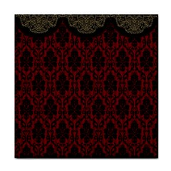 Elegant Black And Red Damask Antique Vintage Victorian Lace Style Face Towel