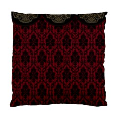 Elegant Black And Red Damask Antique Vintage Victorian Lace Style Standard Cushion Case (Two Sides)