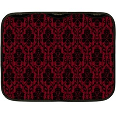 Elegant Black And Red Damask Antique Vintage Victorian Lace Style Double Sided Fleece Blanket (Mini)