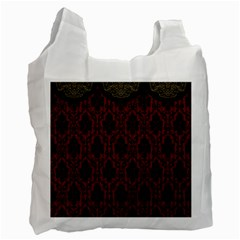 Elegant Black And Red Damask Antique Vintage Victorian Lace Style Recycle Bag (Two Side)