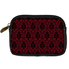 Elegant Black And Red Damask Antique Vintage Victorian Lace Style Digital Camera Cases