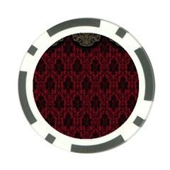 Elegant Black And Red Damask Antique Vintage Victorian Lace Style Poker Chip Card Guard (10 pack)