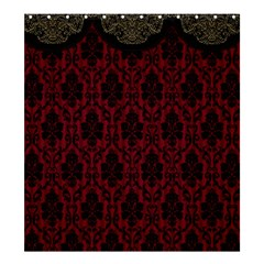 Elegant Black And Red Damask Antique Vintage Victorian Lace Style Shower Curtain 66  x 72  (Large)