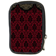 Elegant Black And Red Damask Antique Vintage Victorian Lace Style Compact Camera Cases