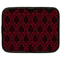 Elegant Black And Red Damask Antique Vintage Victorian Lace Style Netbook Case (XXL)