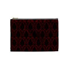 Elegant Black And Red Damask Antique Vintage Victorian Lace Style Cosmetic Bag (Medium)