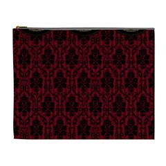 Elegant Black And Red Damask Antique Vintage Victorian Lace Style Cosmetic Bag (XL)