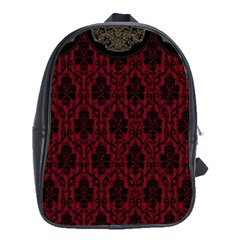 Elegant Black And Red Damask Antique Vintage Victorian Lace Style School Bags(Large)