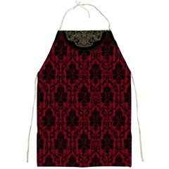 Elegant Black And Red Damask Antique Vintage Victorian Lace Style Full Print Aprons