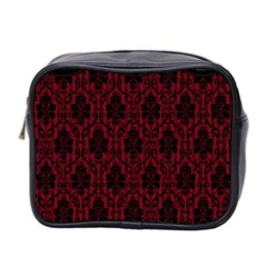 Elegant Black And Red Damask Antique Vintage Victorian Lace Style Mini Toiletries Bag 2-Side