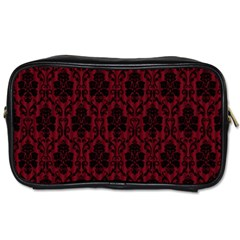 Elegant Black And Red Damask Antique Vintage Victorian Lace Style Toiletries Bags 2-Side