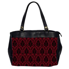 Elegant Black And Red Damask Antique Vintage Victorian Lace Style Office Handbags (2 Sides)