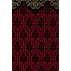 Elegant Black And Red Damask Antique Vintage Victorian Lace Style 5.5  x 8.5  Notebooks
