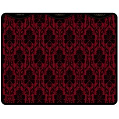Elegant Black And Red Damask Antique Vintage Victorian Lace Style Fleece Blanket (Medium)