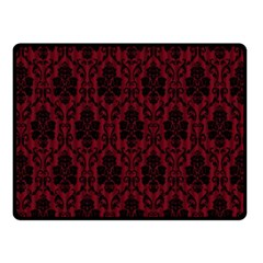 Elegant Black And Red Damask Antique Vintage Victorian Lace Style Fleece Blanket (Small)