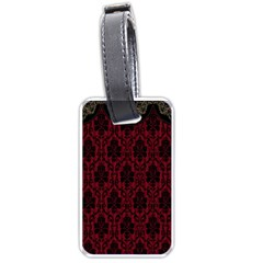 Elegant Black And Red Damask Antique Vintage Victorian Lace Style Luggage Tags (Two Sides)