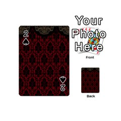 Elegant Black And Red Damask Antique Vintage Victorian Lace Style Playing Cards 54 (Mini)