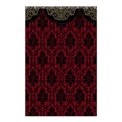 Elegant Black And Red Damask Antique Vintage Victorian Lace Style Shower Curtain 48  x 72  (Small)