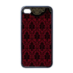 Elegant Black And Red Damask Antique Vintage Victorian Lace Style Apple iPhone 4 Case (Black)