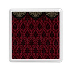 Elegant Black And Red Damask Antique Vintage Victorian Lace Style Memory Card Reader (Square)