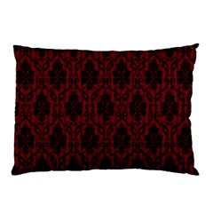Elegant Black And Red Damask Antique Vintage Victorian Lace Style Pillow Case (Two Sides)