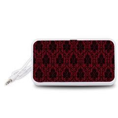 Elegant Black And Red Damask Antique Vintage Victorian Lace Style Portable Speaker (White)