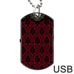 Elegant Black And Red Damask Antique Vintage Victorian Lace Style Dog Tag USB Flash (Two Sides)