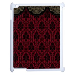 Elegant Black And Red Damask Antique Vintage Victorian Lace Style Apple iPad 2 Case (White)