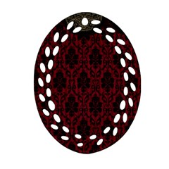 Elegant Black And Red Damask Antique Vintage Victorian Lace Style Oval Filigree Ornament (Two Sides)