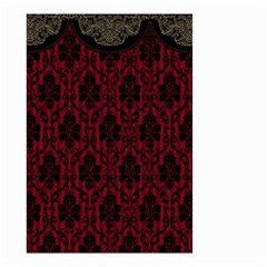 Elegant Black And Red Damask Antique Vintage Victorian Lace Style Small Garden Flag (Two Sides)