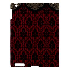 Elegant Black And Red Damask Antique Vintage Victorian Lace Style Apple iPad 3/4 Hardshell Case
