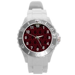 Elegant Black And Red Damask Antique Vintage Victorian Lace Style Round Plastic Sport Watch (L)